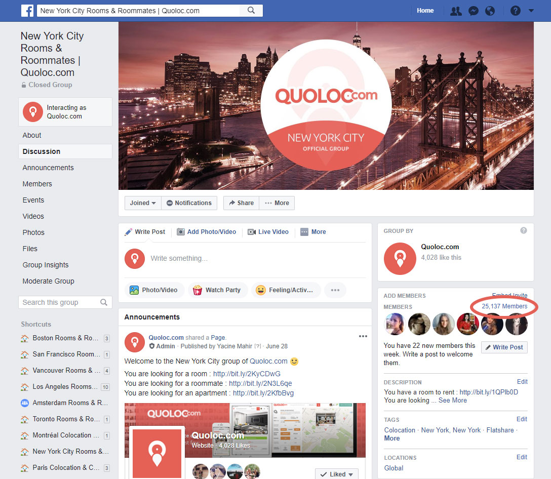 quoloc new york facebook group groupe